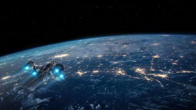 Earth, Spaceship, Night, Stars, Night, Dark background, Orbit, 5K