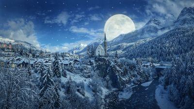 Winter, Moon, Frozen, Forest, Village, Snowfall, 5K