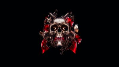 Skull, 3D, Black background