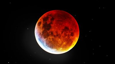 Blood Moon, Night, Dark background, 5K