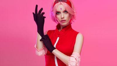 Sakura Haruno, Naruto Shippuden, Anime, Cosplay, Pink background