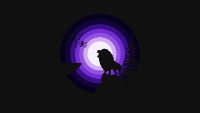 Lion, Roaring, Silhouette, Moon, Night, Purple