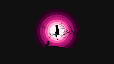 Cats, Moon, Pink, Silhouette, Black background