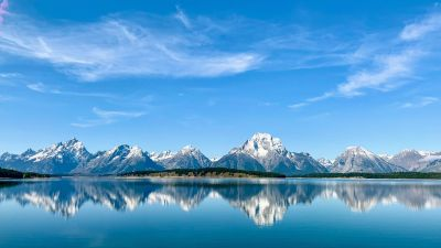 Grand Teton National Park, Mountains, Lake, Clear sky, Sky blue, Reflections, Wyoming