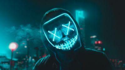 LED mask, Neon, Urban, Night, Smoke