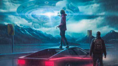 Spaceship, Alien, Flying saucer, UFO, People, Smartphone, Futuristic