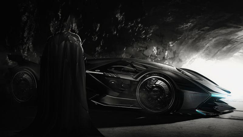 Batman, Batmobile, Batcave, Wallpaper