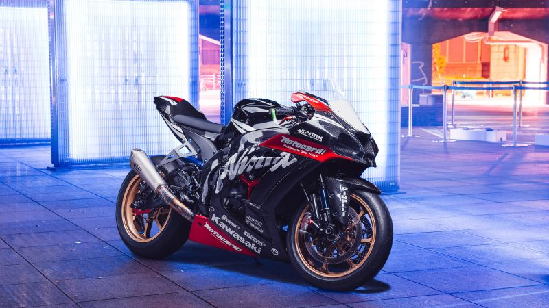 Kawasaki Ninja ZX-10R, Sports bikes, Neon light, Wallpaper