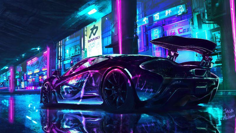 Cyberpunk, McLaren, Supercars, Neon art, Wallpaper