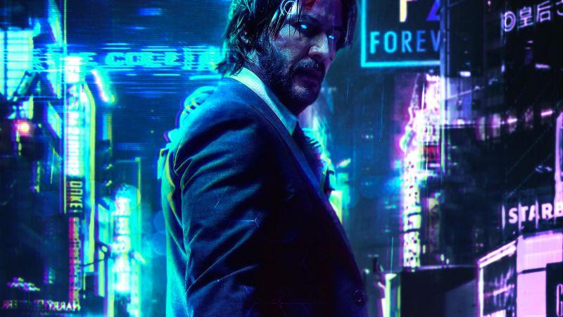 Cyberpunk 2077, John Wick, Keanu Reeves, Wallpaper