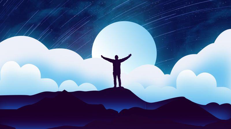 Man, Alone, Silhouette, Moon, Night, Clouds, Illustration, Starry sky, 5K, Wallpaper