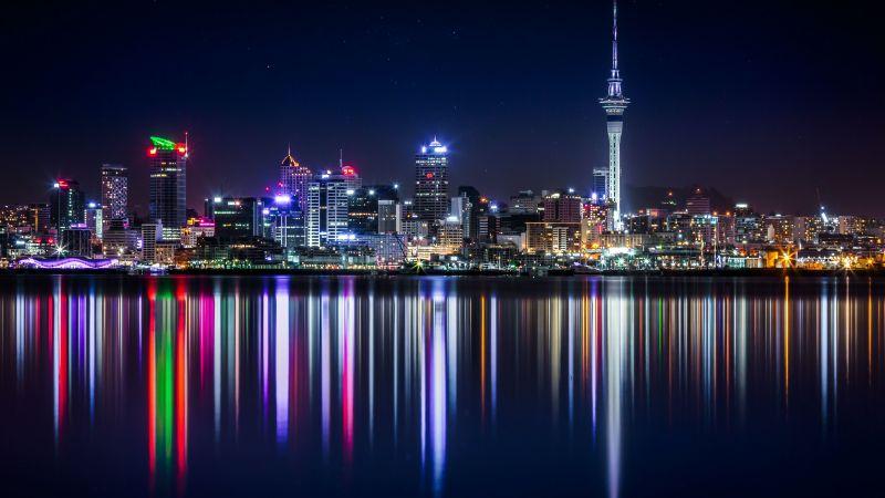 Auckland, Cityscape, Night, City lights, Reflection, Urban, New Zealand, Wallpaper