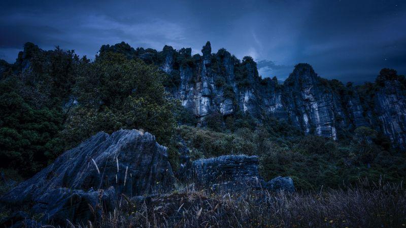 Cliff, Night, Rocks, Piopio, New Zealand, Wallpaper