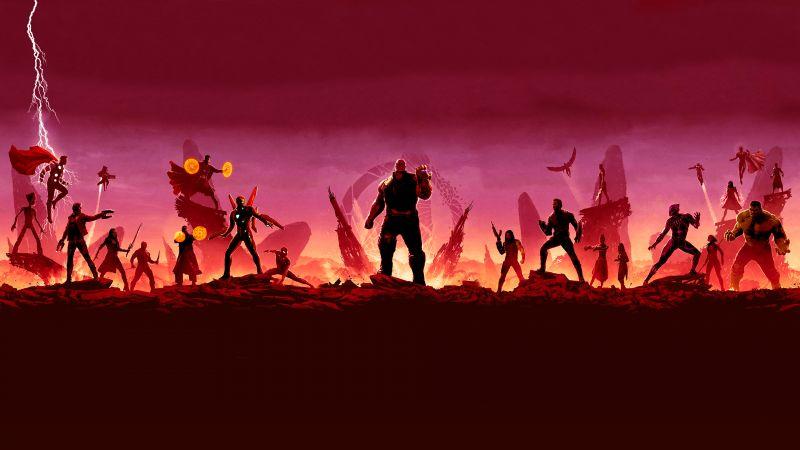 Avengers: Infinity War, Illustration, Marvel Superheroes, Thanos, Wallpaper