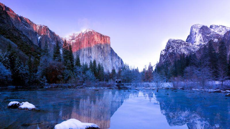 Yosemite Lake, Yosemite Valley, Landscape, Reflection, Yosemite National Park, Winter, Scenic, California, USA, 5K, Wallpaper