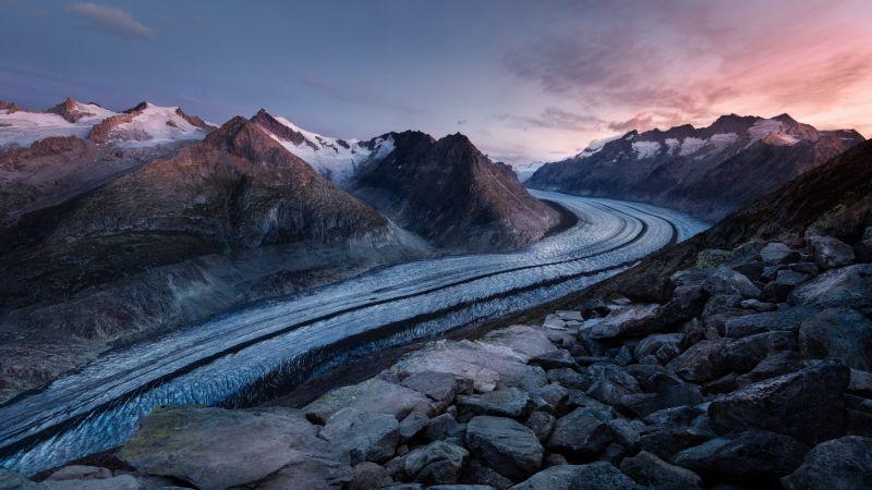Bettmerhorn, Mountains, Snow, Winter, Bernese Alps, Aesthetic, Landscape, Scenic, Summit, Sunrise, Dawn, 5K, 8K, Wallpaper