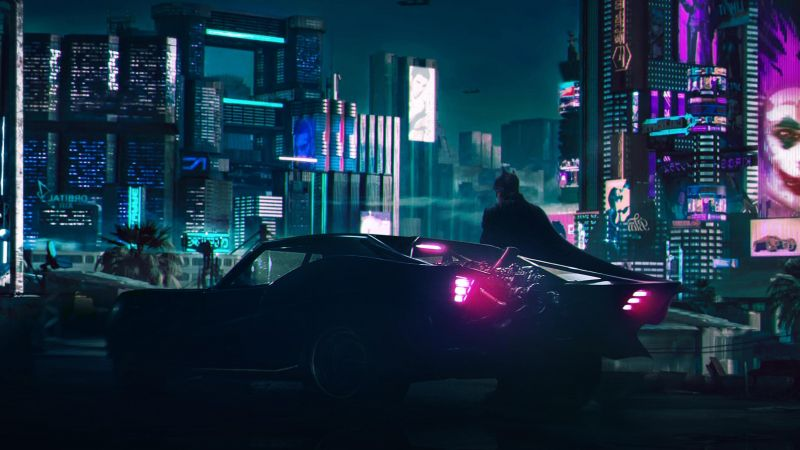 Batman, Batmobile, Cyberpunk, Neon, Wallpaper