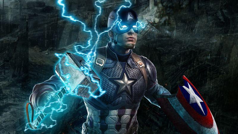 Captain America, Avengers: Endgame, Worthy, Thor's hammer, Mjolnir, Thor's lightning, Wallpaper