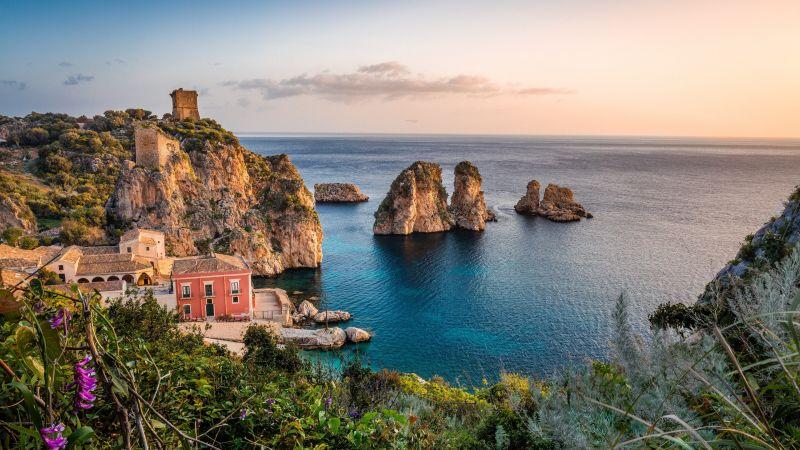 Tonnara di Scopello, Museum, Historical, Scopello beach, Seascape, Ancient, Rocks, Italy, Wallpaper