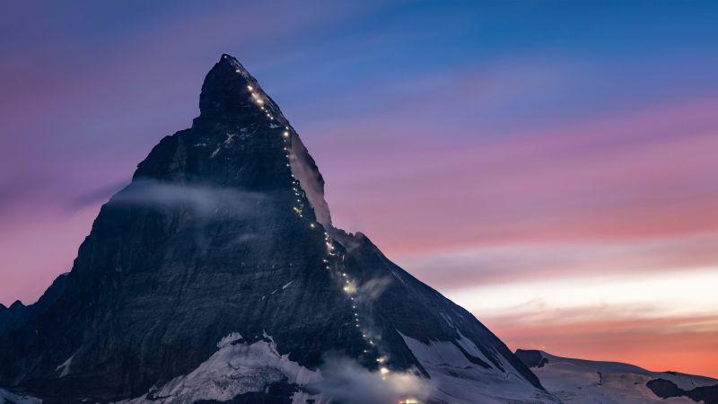 Matterhorn, Mountain, Dusk, Peak, Sunrise, Switzerland, 5K, 8K, Wallpaper