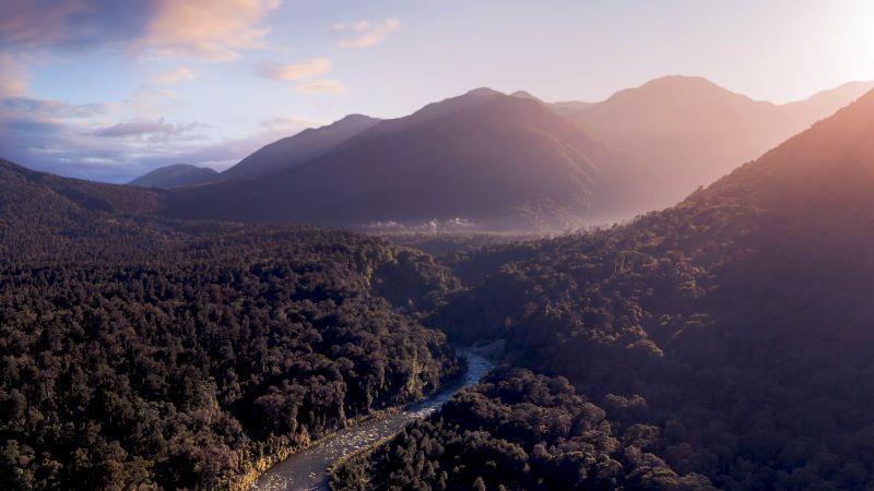 Fiordland National Park, Mountains, Sunrise, Forest, River, New Zealand, Wallpaper