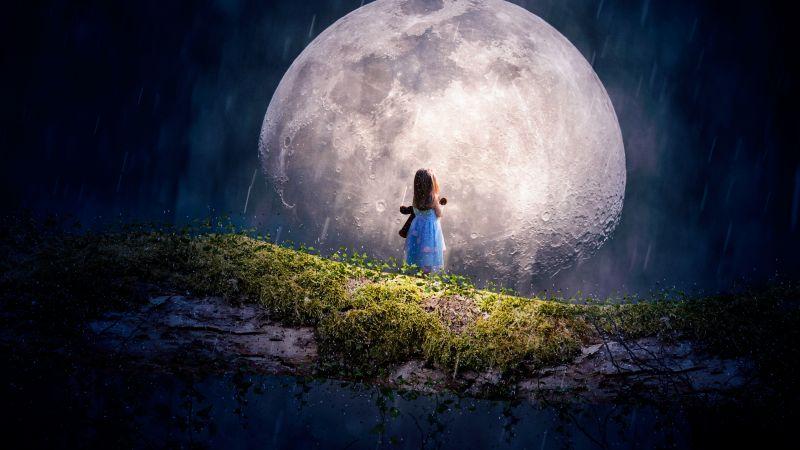 Cute girl, Adorable, Moon, Surreal, Alone, Wallpaper