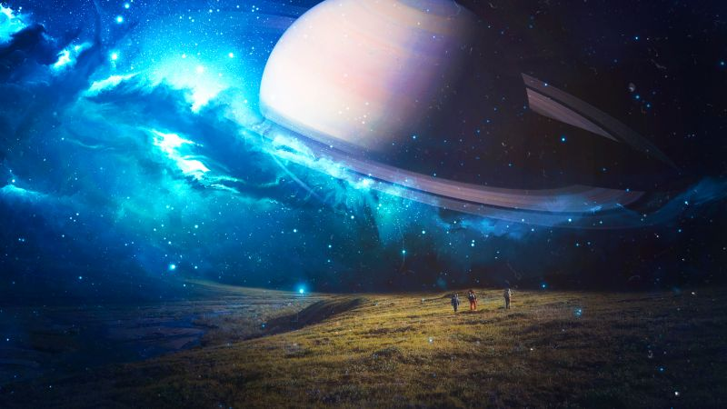 Exploring, Saturn, Planet, Surreal, Time travel, Space, Wallpaper