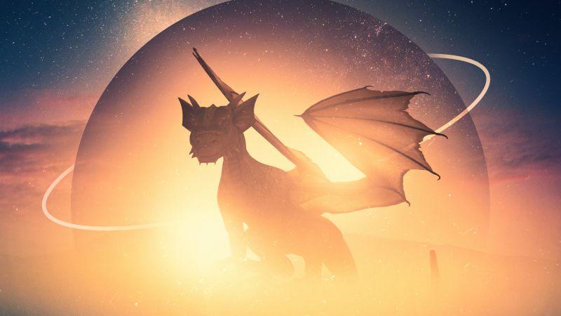 Dragon, Boats, Planet, Surreal, Wallpaper