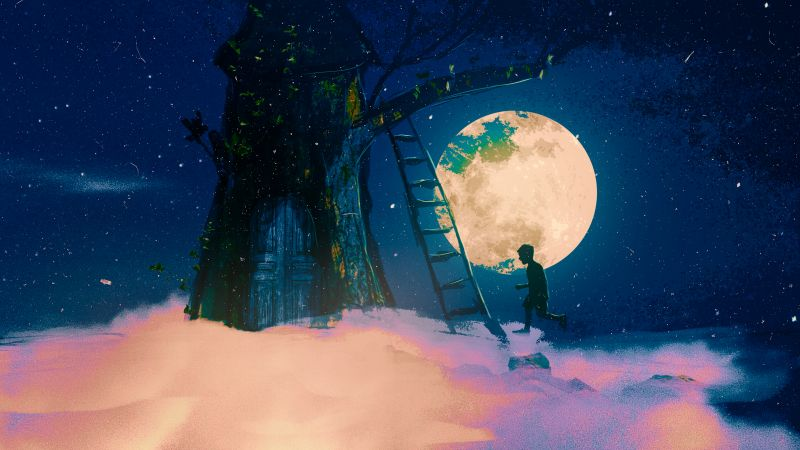 Tree house, Dream, Moon, Night, Surreal, Wallpaper