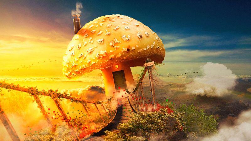 Mushroom house, Surreal, Bridge, Dream, Fantasy, Clouds, Wallpaper