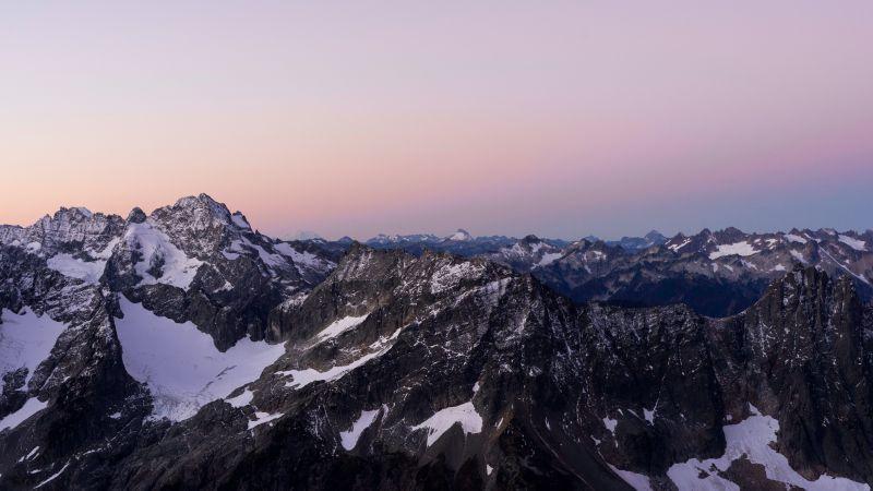 Peak, Glacier, North Cascades National Park, Mountain, Morning, Dawn, Washington, USA, 5K, Wallpaper