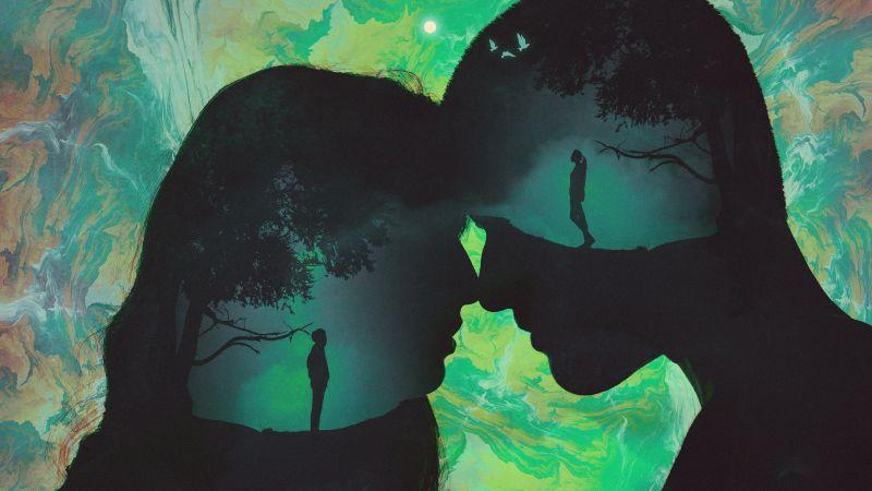 Lovers, Couple, Silhouette, Romantic, Wallpaper