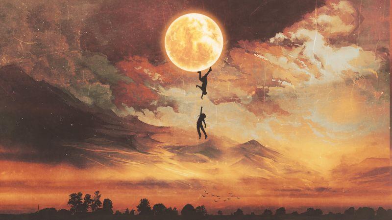 Moon, Falling, Couple, Silhouette, Surreal, Wallpaper