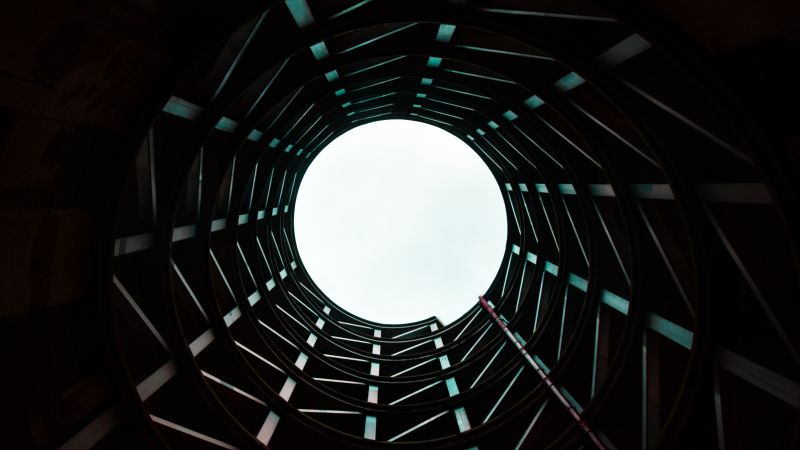 Modern architecture, Building, Sky view, Tunnel, 5K, Wallpaper
