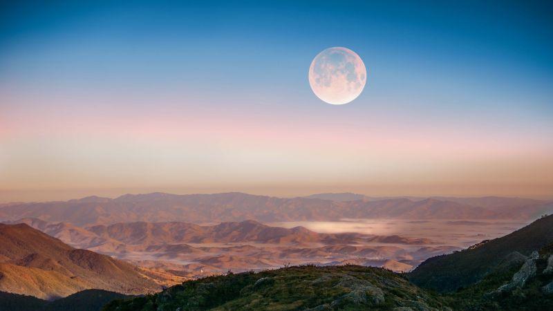 Full moon, Hills, Itatiaia National Park, Mountains, Landscape, 5K, Wallpaper