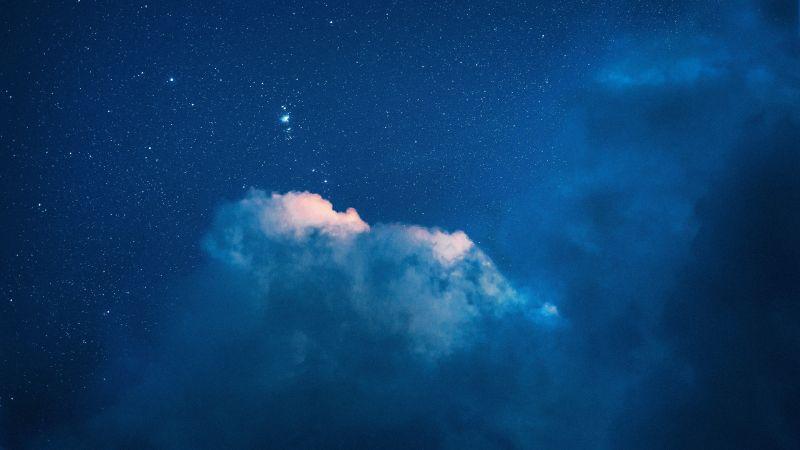 Starry sky, Clouds, Blue Sky, Night, Wallpaper