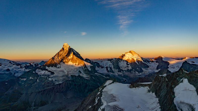 Matterhorn, Dent d'Hérens, Mountains, Sunrise, Morning, Snow covered, Mountain range, Switzerland, 5K, Wallpaper