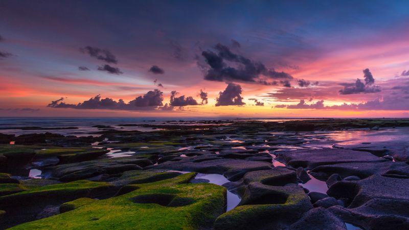 Rocky beach, Coastline, Sunset, Horizon, Dusk, Pukutatan, Indonesia, 5K, Wallpaper