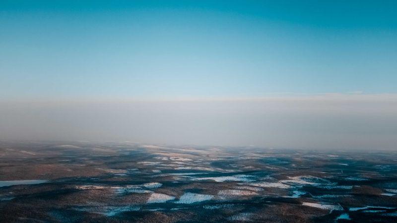 Landscape, Aerial view, Blue Sky, Horizon, Winter, Foggy, Snow, Wallpaper