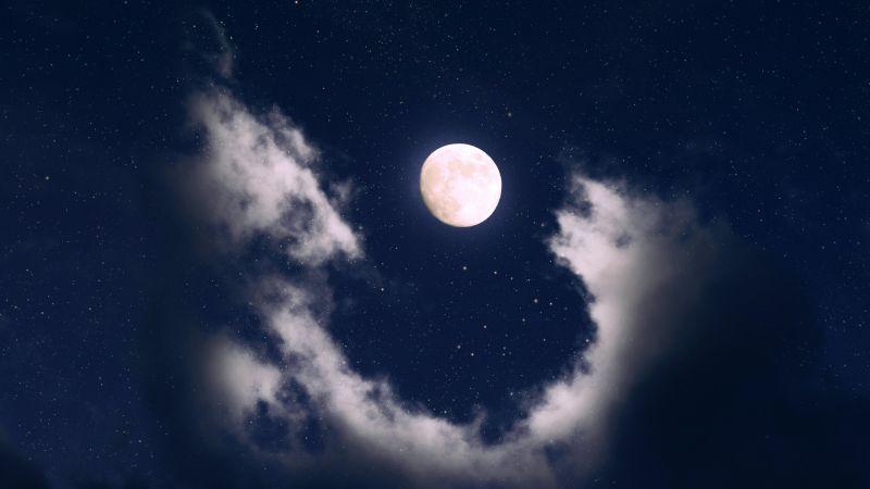 Full moon, Clouds, Night, Starry sky, Wallpaper