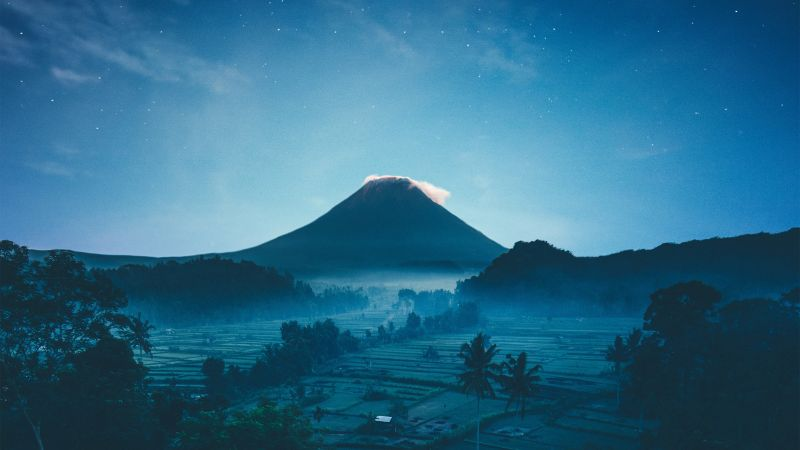 Mount Agung, Volcano, Rice fields, Bali, Indonesia, Crescent Moon, Starry sky, Night, Wallpaper