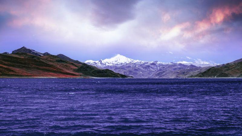 Riven, Mountains, Landscape, Sunny day, Lhasa, Tibet, China, 5K, 8K, Wallpaper