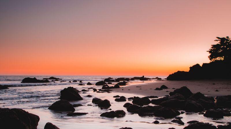 Rocky beach, Sunrise, Crescent Moon, Dawn, Wallpaper