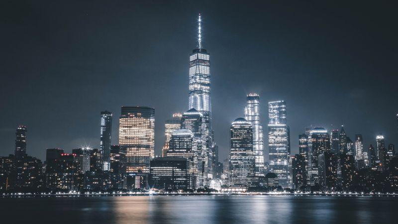 Manhattan, One World Trade Center, Freedom Tower, New York City, Night, Cityscape, City lights, 5K, Wallpaper