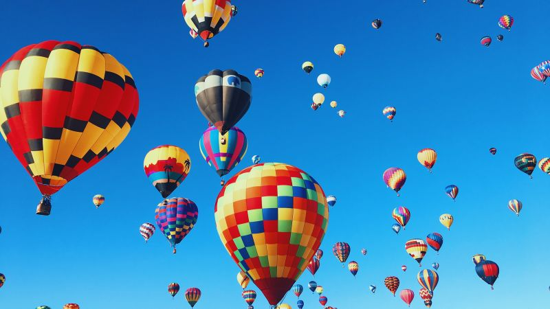 Hot air balloons, Festival, Colorful, Blue Sky, Aesthetic, Wallpaper