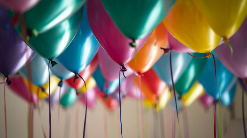 Colorful balloons, Birthday, Decoration, Party, 5K, 8K, Wallpaper