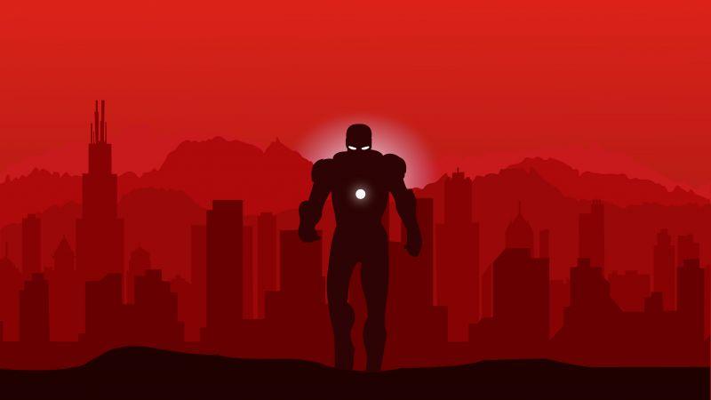 Iron Man, Minimal art, Red, Marvel Superheroes, Wallpaper