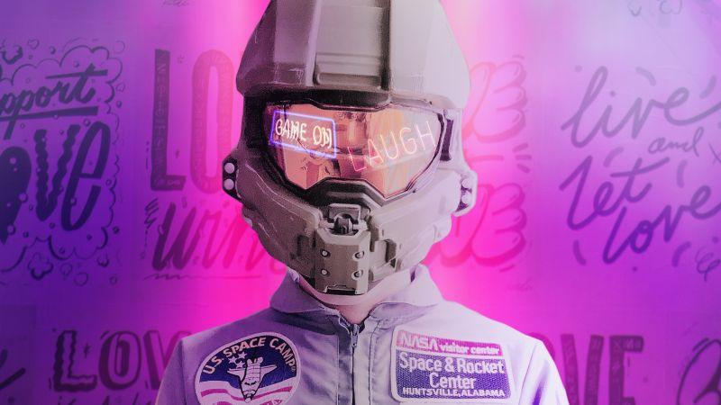 Astronaut, NASA, Space suit, Neon, Pink, Wallpaper