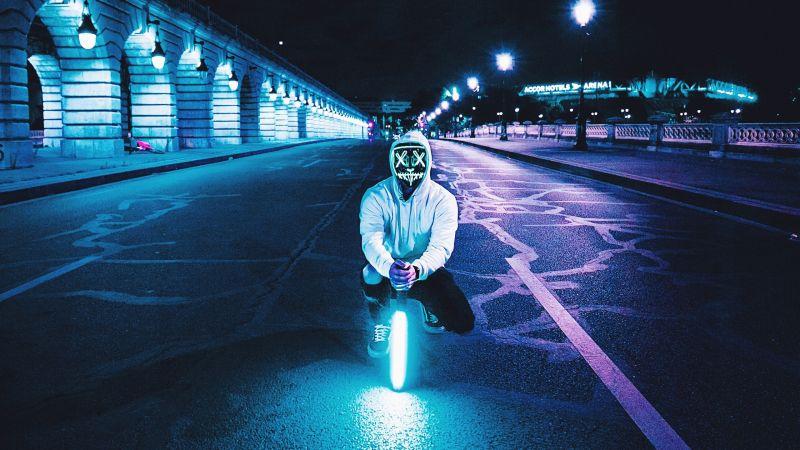 Man, LED mask, Lightsaber, Road, Tarmac, City lights, Night, Neon, Wallpaper