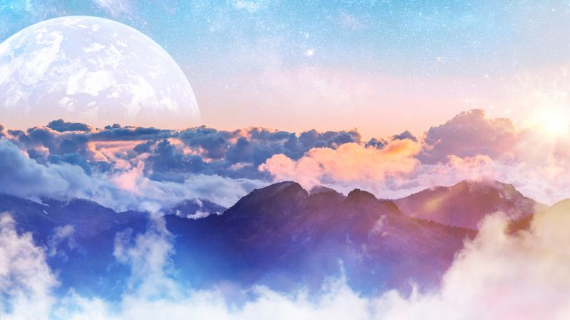 Above clouds, Moon, Planet, Mountains, Clouds, Sunny day, Wallpaper